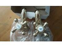 Brand New Pair Of Deva Tudor Bath Taps In Gold £40 ono Victorian Plumbing