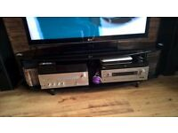 black glass tv stand long (150 cm )