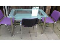 Glass table 3 Chairs
