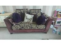 Two x 2 seater purple fabric sofas
