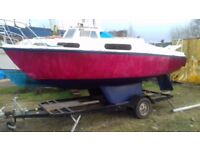 Boat, fishing boat, yacht Sea Witch 19 ft and trailer. Easy project