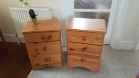 Pair of 'non-matching' pine bedside cabinets in very good condition