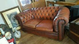 Original Brown Leather Chesterfield two seater