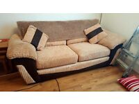 Three seater settee and arm chair with storage pouffe