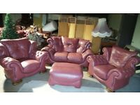 LEATHER CHESTERFIELD SUITE 2+1+1+BIG FOOTSTOOL AND FREE DELIVERY