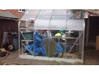 Aluminium Greenhouse. Curved Pent Roof Style with Sliding Door