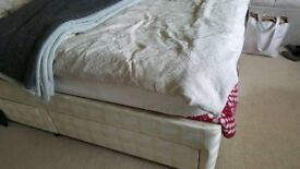 Single divan bed with mattress and 2 drawers