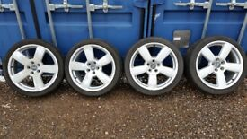 Set of 4x 18 inch Audi alloy wheels with tyres and 2x adapters 3mm
