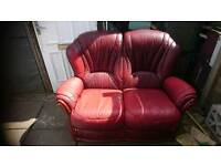 2 seater dark red leather sofas