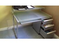 John Lewis glass and metal workdesk with three drawers