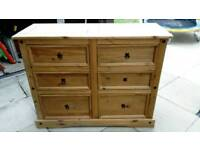 Corona waxed Mexican pine chest of drawers