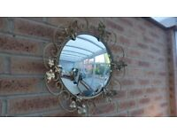 Vintage Convex Mirror in Wrought Iron Frame 48 cm