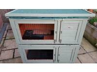 Bunny Business Double Deluxe Rabbit / Guinea Pig Hutch with Cover