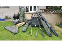 Very large collection of fishing Equipment. Rods, Holdalls, Bedchair, Fox, Nash and sabre