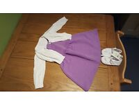 Purple Mango dress age 9-12 months with cardigan and shoes baby girl