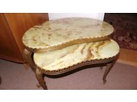 VINTAGE PAIR OF ONYX / BRASS NEST OF TABLES REALLY HEAVY