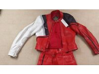 2 piece Unisex Red G MAC Racing Leathers zips @ jacket and Trousers zip @ rear to Make 1 Piece