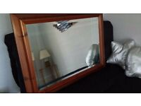 *** SOLID PINE BEVELLED GLASS MIRROR ***