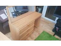 Pine effect dressing table/desk with matching mirror