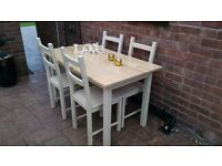 shabby chic ,solid wood table and chairs