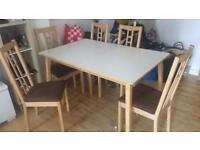 IKEA extending table and 5 chairs