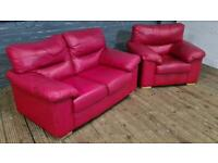 DARK RED LEATHER SOFA SET 2+1 SEATER IN GOOD CONDITION