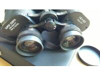 Unused New Zenith Binoculars 16x50 3.5 Degree Field Glasses, Japan, Leather Case & Straps, Coated