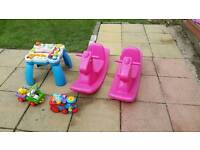 Leap frog table £20. Pink rocking horse £ 15 each or 2 for £25. Train set 10 pound