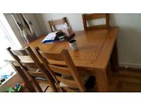 Oak Solid wood dining table with 4chairs