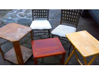 Five Items For Upcycling / Shabby Chic Enthusiasts Metal Chairs / Ornate Oak Table /Picnic Table
