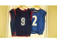 8 x USED Mens Blue Mesh Sports Training Bibs for Football, Rugby, Basketball | Adults 100% Polyester