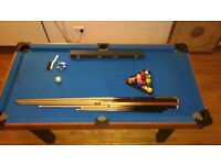Pool Table 6ft x 3ft with cues, rack, and balls