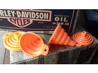 Foldy Funz Harley Davidson XL Sportster Biker Orange collapsible funnel