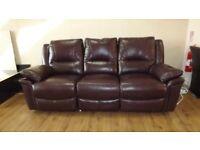 Designer black cherry leather reclining 3 seater sofa + chair (285) £699