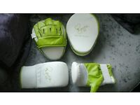 Divina Mccall boxing gloves and pads