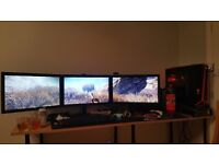 Triple surround full hd 1080p 24 inch benq monitors and stand boxes incl7