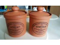 Tea/coffee terracotta storage jars