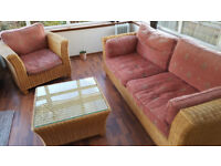 Conservatory Furniture - matching single chair, couch and table in wicker