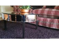 Round mirrored coffee / side table