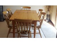 Table and 6 Chairs with Cushions for Sale