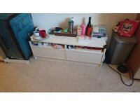 IKEA White TV Stand with push/pull drawers