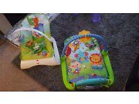 Fisherprice play matt/gym and bouncy chair