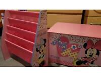 Minnie mouse toy box & bookshelves