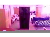 GREAT CONDITION!! 2 door black fronted wooden wardrobe