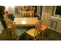 Dining table and 6 solid wood chairs