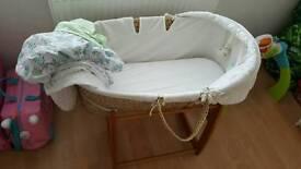 FREE moses basket / rocking stand / mattress and sheets