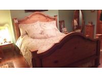 SOLID WOOD BED,OTHER MATCHING ITEMS ..PLEASE SEE ALL ADS AS SELLING HOUSE CONTENTS DUE TO MOVING
