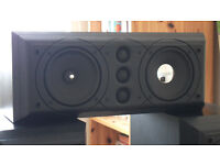 a Pair of Mission 774 floor standing speakers with a matching 774c centre speaker - black ash