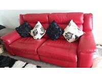 Red Leather Large Reclining Sofa & Matching Electric Reclining Armchair