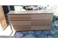 Large chest of 6 drawers/sideboard - light oak veneered finish